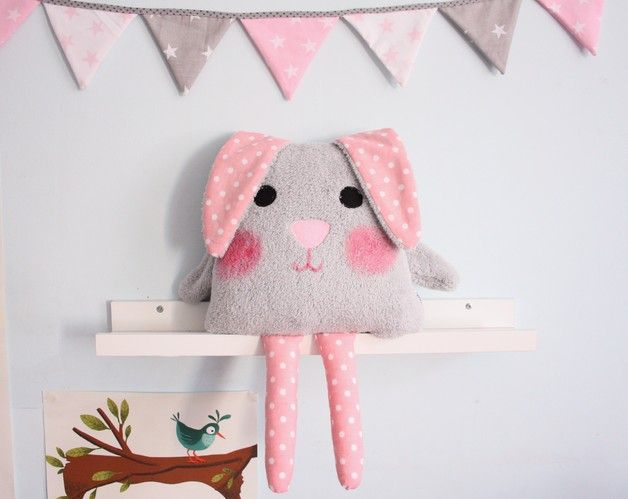 Perfect decoration for kid's room. Cushions – Sweet rabbit pillow – a unique product by Karmelki-by-Ania via en.DaWanda.com
