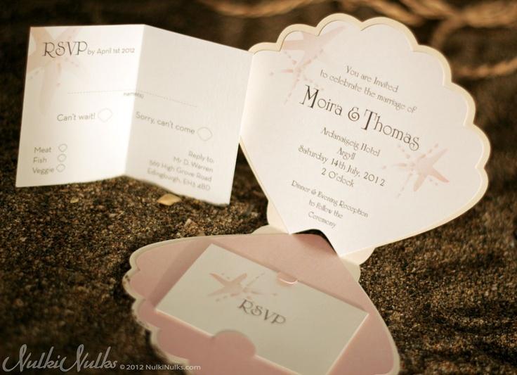 Seal And Send Wedding Invitations Diy: Custom Shell-shaped Wedding Invitation