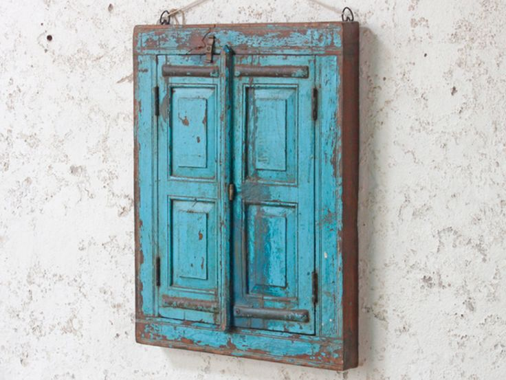 Lovely Scaramanga shuttered blue wall mirror repurposed from an antique window frame and shutters. The mirror has a unique distressed blue shabby chic surface finish. #vintage #mirror #unique #furniture #homedecor #homestyle