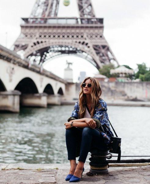 Rachel Barnes does head-to-toe blue in Paris