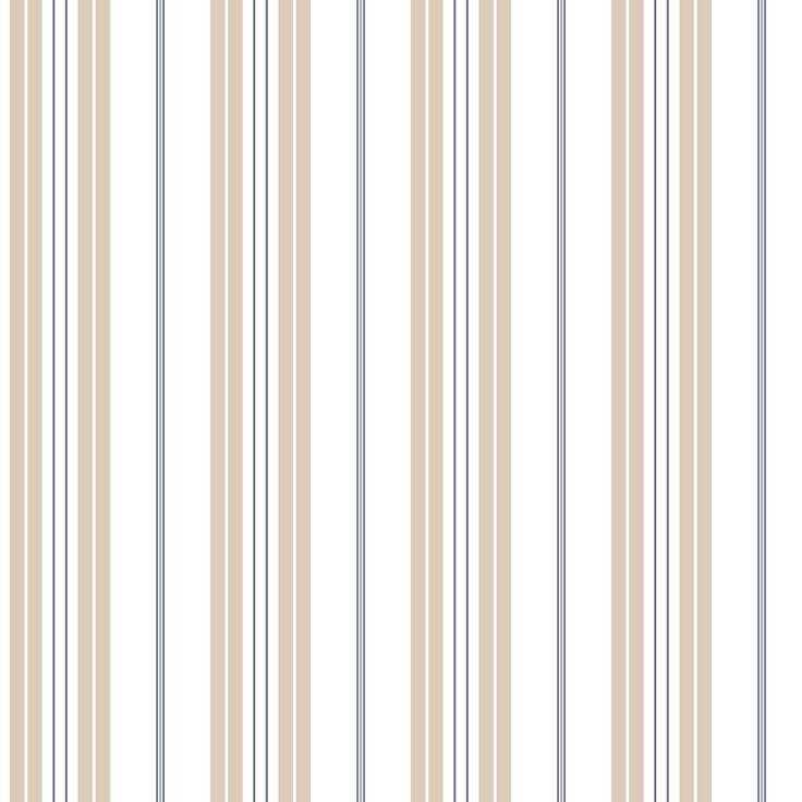 Noordwand Streep behang in beigecamel/blauw