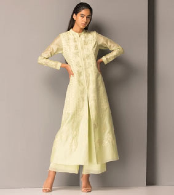 Mint Chanderi Silk Jacquard Jacket With Palazzo