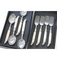 Faux Ivory Dessert Forks and Spoons