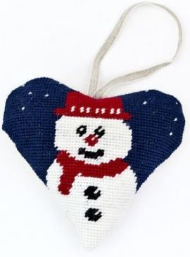 Christmas Snowman Heart Tapestry