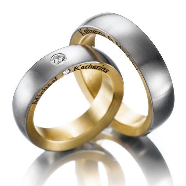 123gold MyStyle. 1 Paar Trauringe - Legierung: außen Weißgold 585/- , innen Gelbgold 585/- Breite: 6,00 - Höhe: 2,50 - Steinbesatz: 2 Brillanten zus. 0,11 ct. tw, si (Ring 1 mit Steinbesatz, Ring 2 ohne Steinbesatz). Alle Trauringe können Sie individuell nach Ihren Wünschen konfigurieren.