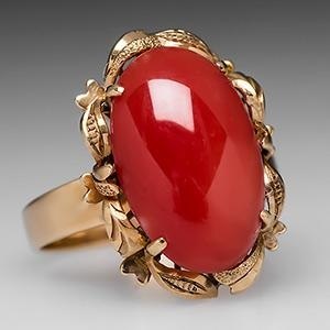 Natural Red Coral Cocktail Ring in 14K Gold