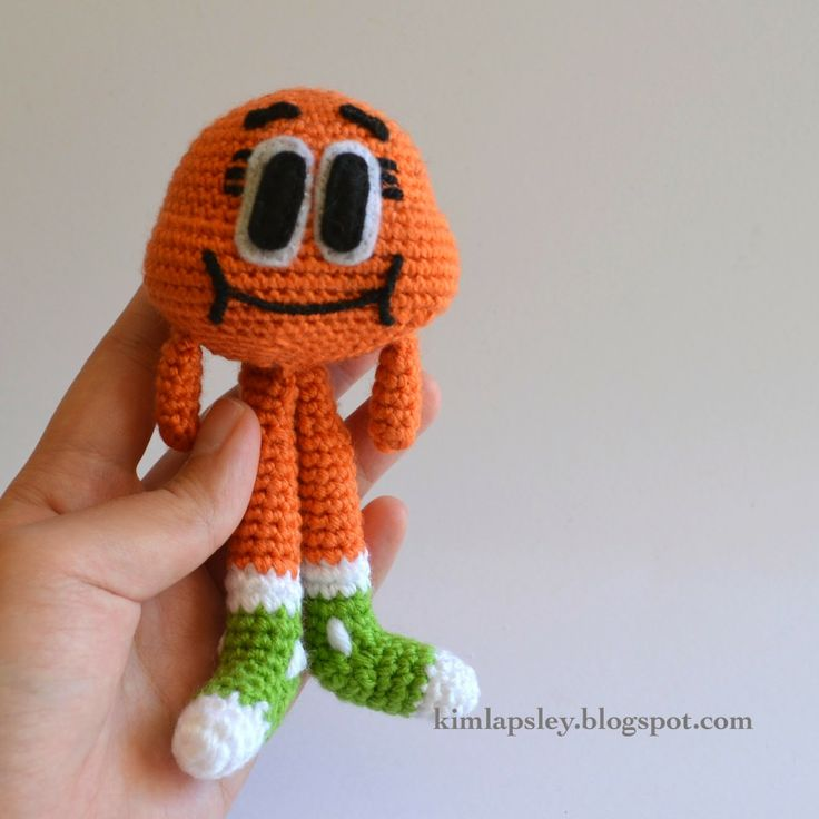 And here is the pattern for Darwin. He's a talking, walking goldfish from the cartoon The Amazing World of Gumball.