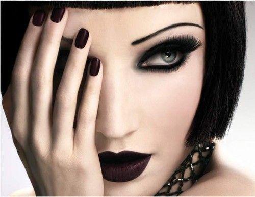 black and white: Red Lipsticks, Bobs Haircuts, Vintage Glamour, Dark Beautiful, Makeup, Heart Of Dark, Dark Lips, Black Hats, Lips Colors