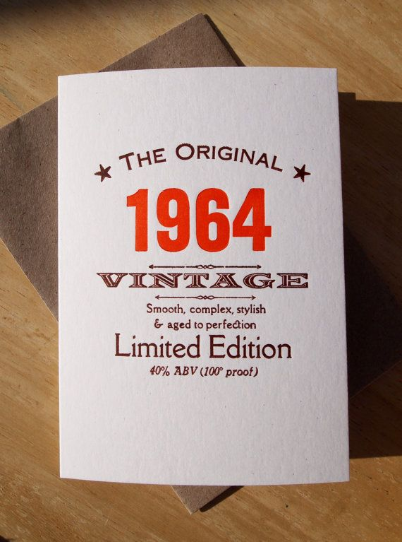 50th Fiftieth 1964 birthday letterpress by TheSmallprintCompany, £3.00