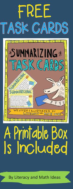 Free!  Summarizing task cards, an answer key, a printable box for storage, and a student recording form are included in this free resource.  Try out my task card series for free.  Follow the link to access the first-ever task cards that are organized by guided reading/lexile levels.  They were designed to make reading instruction and progress monitoring so much easier.  Printable boxes are included too! $
