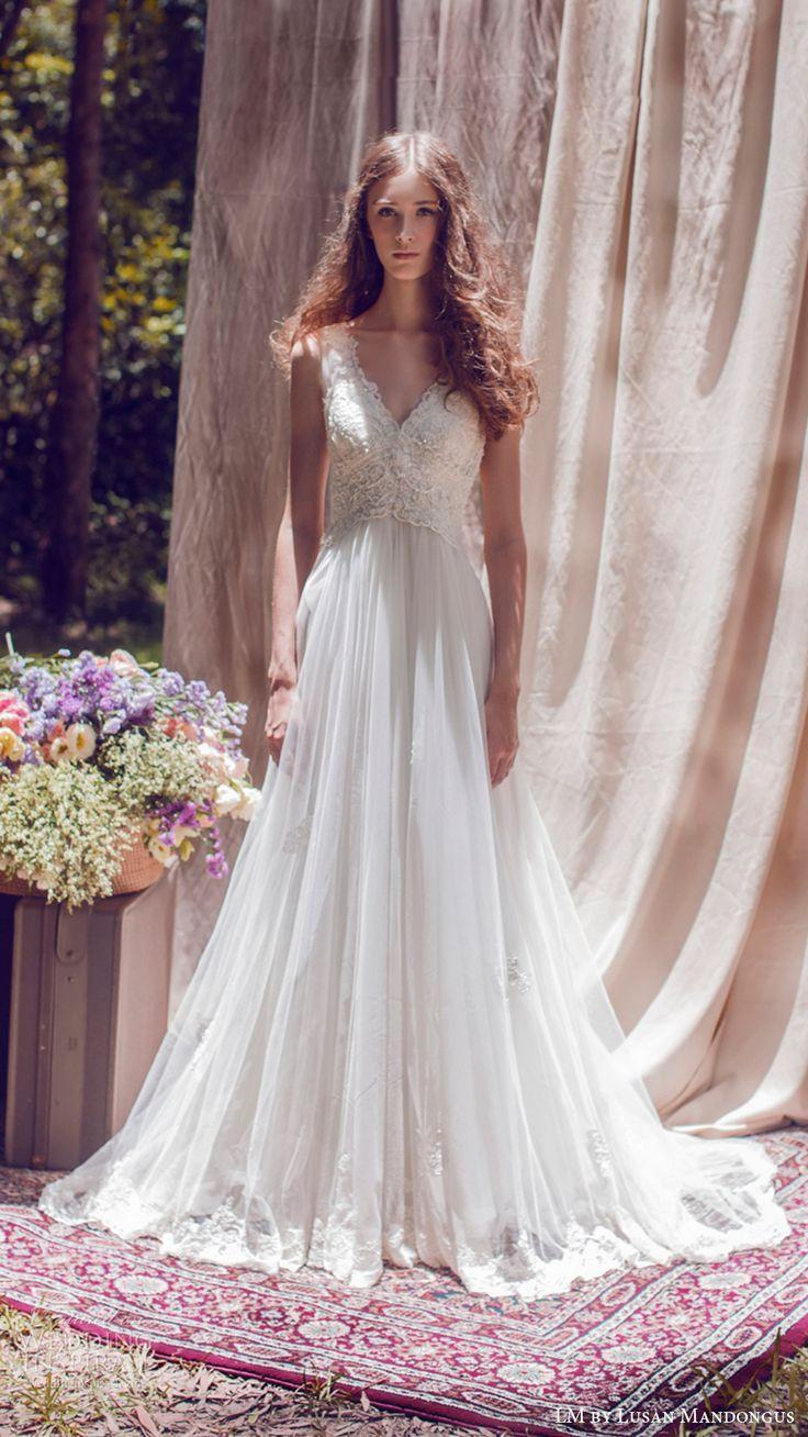 lm lusan mandongus bridal 2017 sleeveless v neck a line lace bodice wedding dress (lm3148b) mv romantic