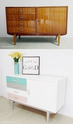 Before and after- the 60s dresser painted by Annie Sloan Chalk Paint (Pure, Provance, Paris Grey, Antoinette)