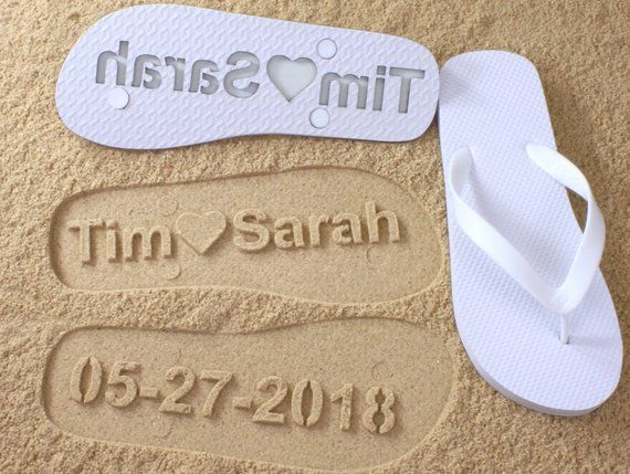 59cd7ea671f0 Custom Wedding Flip Flops - Personalized Name Sandals for Wedding Party