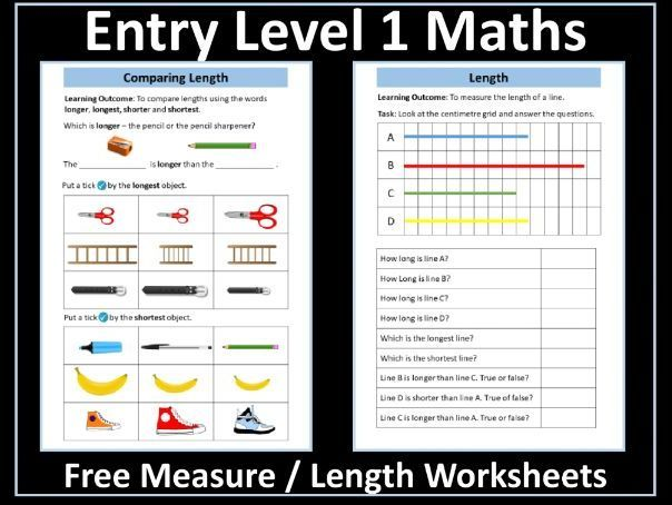 Measure Length Entry Level 1 Maths Math Measurement Simple Word Problems First Grade Worksheets