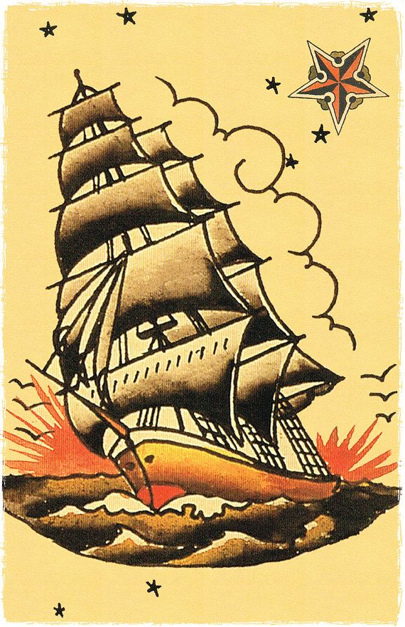 11 x 17 Pirate Ship masted sailing vessle Navy boat Sailor Jerry Style Flash…