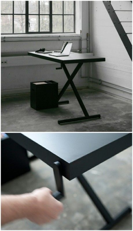 XTable by KiBiSi: Hand-cranked lift table. #Table