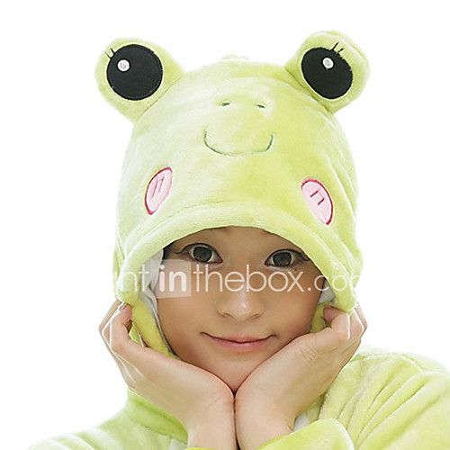 Pijama kigurumi Rana Pijama Mono Pijamas Disfraz Lana Polar Verde Cosplay por Adulto Ropa de Noche de los Animales Dibujos animados 2018 - $70087