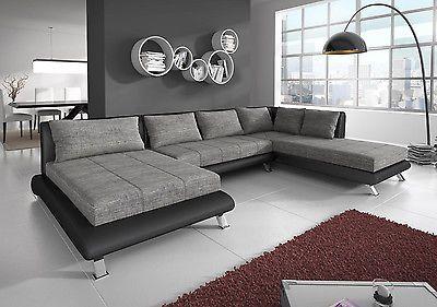 Couch Garnitur Ecksofa Sofagarnitur Sofa ONTARIO 4 Wohnlandschaft Couchgarnitur