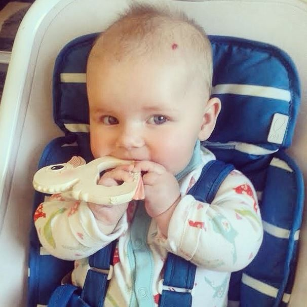 The beautiful baby Clemence loves her new Kawan teether!