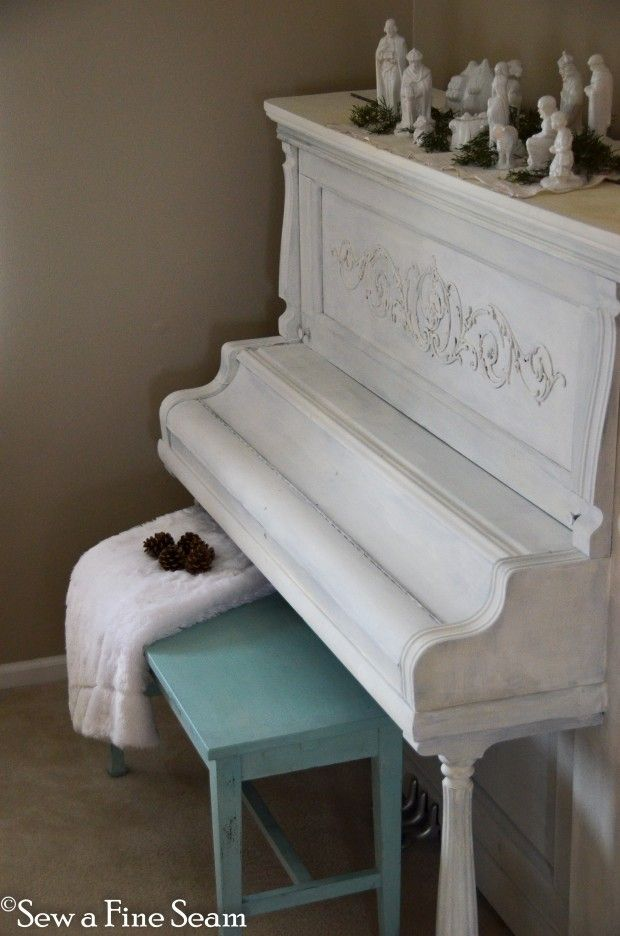 Milk Painted piano in Ironstone. Bench in Eulalie's Sky. By Jill from Sew a fine Seam.