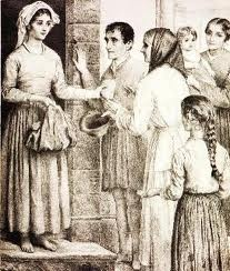 Young Irish worked as indentured servants after coming to America, often begging from others. Reference to Bread and Dreams or Kitchen House.
