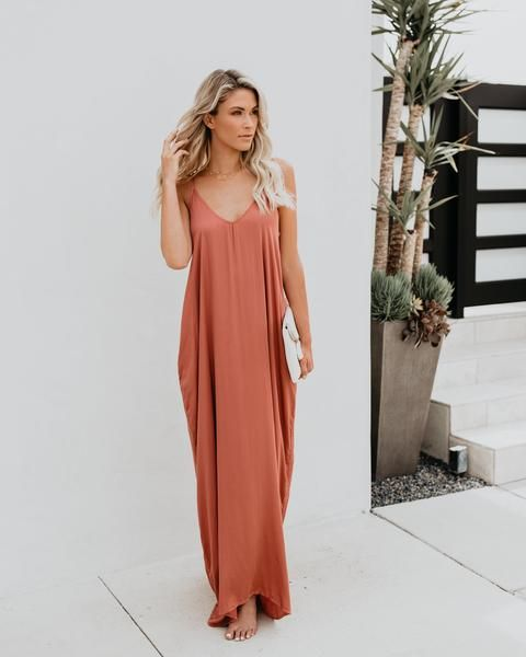 eb375da4a65a Really Living Olivian Pocketed Maxi Dress - Terracotta | Bridesmaids |  Dresses, Bridesmaid dresses, Wedding bridesmaid dresses