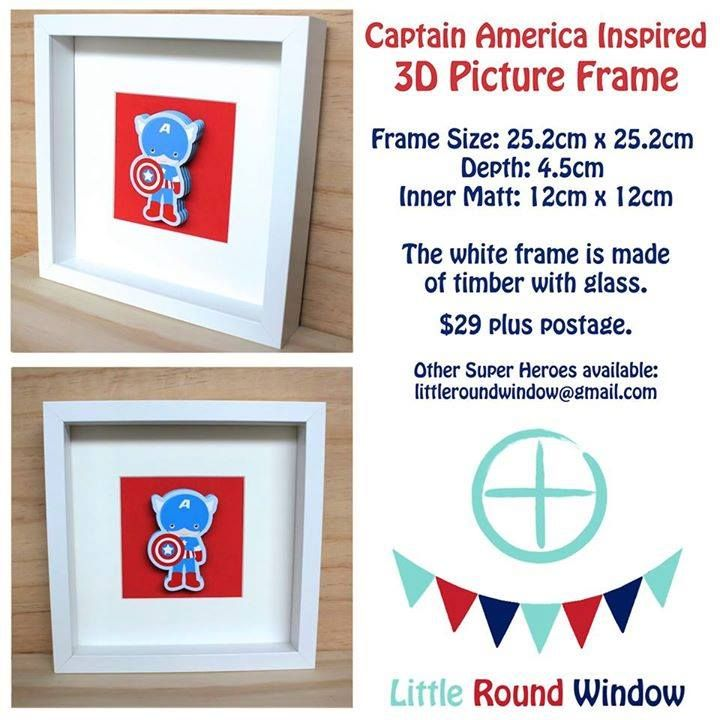 Handmade by Little Round Window  Captain America Inspired 3D Picture Frame