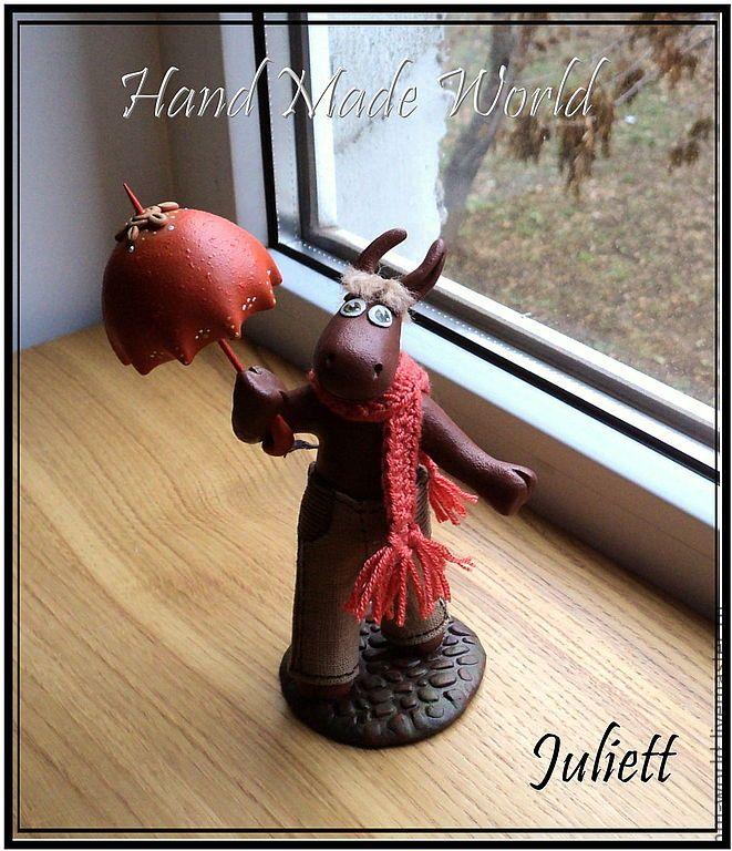 """Фигурка """"Ослик с зонтиком"""" - оранжевый,ослик,осел,фигурка ослика,фигурка осла"""