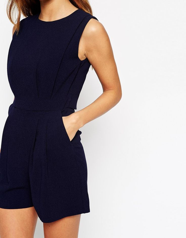 Image 3 of ASOS Playsuit with Open Back and Pleat Detail