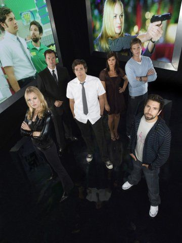 "Adam Baldwin, Sarah Lancaster, Ryan McPartlin, Zachary Levi, Joshua Gomez and Yvonne Strahovski in ""Chuck"" (Tv Series 2007-2012)"