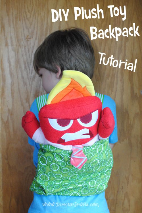 DIY Plush Toy Backpack Sewing Tutorial with Inside Out from Disney/Pixar at directorjewels.com #InsideOutEmotions #ad
