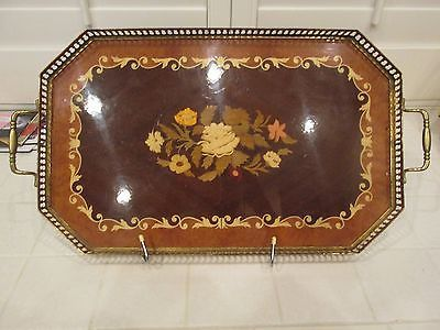 Italian Sorrento Italy Art Picture Painting Inlaid Wood Tray 9 X 14 inches