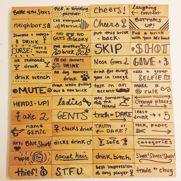 created a jenga drinking game - Halloween Party Rules