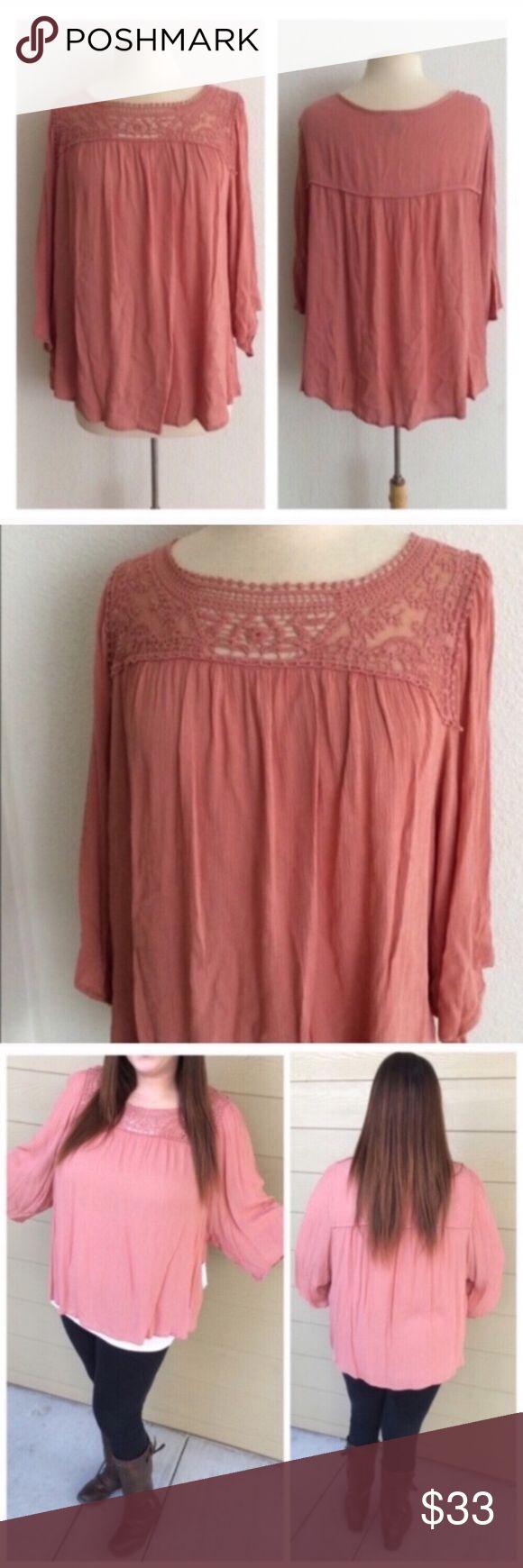 """(Plus) Pink flowy tunic Lace blouse. 100% rayon. Very flowy! Dolman style sleeves. Lightweight and semi sheer. Slightly shorter on the sides. Model is a 2x/ 16 and wearing size 2x.  1x: L 29"""" • B 48"""" 2x: L 30"""" • B 50"""" *Please note: I ordered these from my wholesale vendor, but they are a brand from Sears/ Kmart and have tags from the store ⭐️This item is brand new with tags 💲Price is firm unless bundled ✅Bundle offers Availability: 1x•2x • 1•1 Tops"""