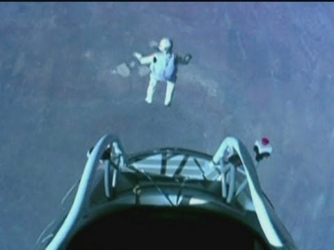 AMAZING! we are SPEECHLESS!  Who is brave enough to jump from a capsule dangling more than 120.000 feet above the Earth? Who can break the speed of sound? Who is fearless enough to do such a thing? The answer is FELIX BAUMGARTNER!  He safely landed in New Mexico, after he broke the record for highest skydive and the sound barrier!  Congratulations Felix!!!