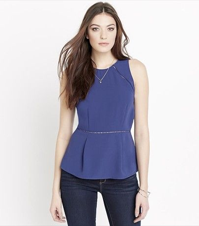 Peplum Top With Open Stitch Details