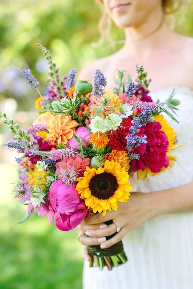 colourful sunflower wedding bouquets 6