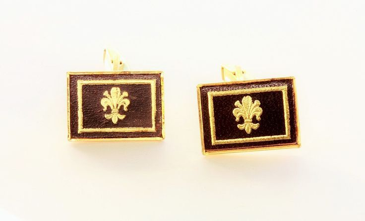 Rolled Gold Cufflinks Inset with Gold Embossed Leather