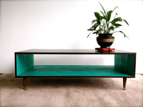 Mid Century Modern Coffee Table in Espresso and Teal  Coffee Table Pictured L 48 x W 20 x H 16 Shelving Space: 8.5 x 16  This handcrafted Mid