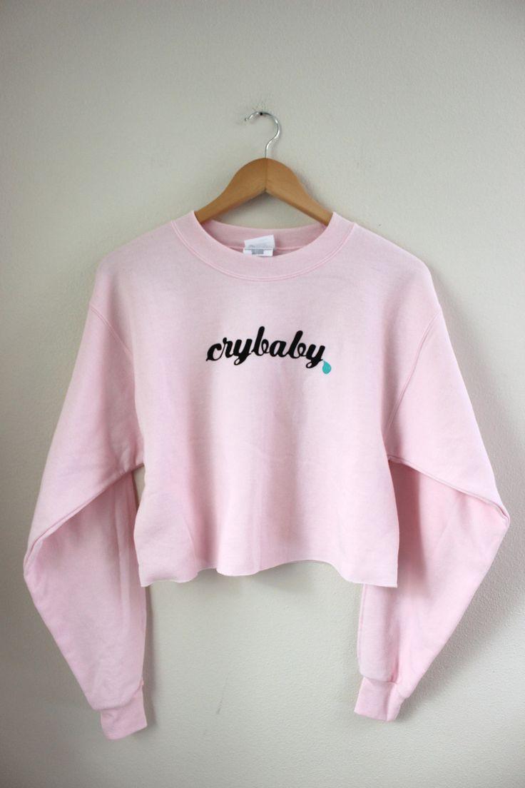 Crybaby Pastel Pink Cropped Graphic Crewneck Sweatshirt                                                                                                                                                                                 More