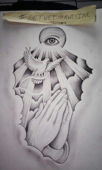 religeous dove praying hands drawing artwork