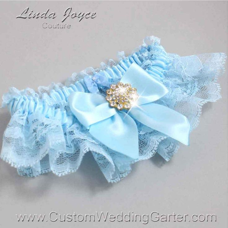 Alice Blue And Light Lace Wedding Garter Penny 10 Gold