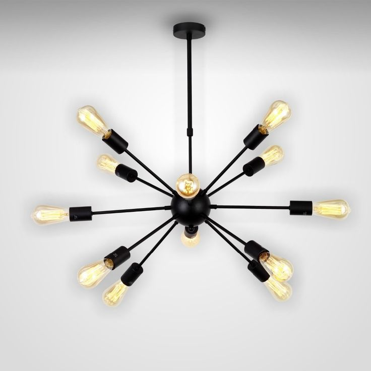 American Industrial Loft Vintage Black Pendant Light 12 Head Sputnik Bar Spider Lights With Edison Bulbs modern fixtures