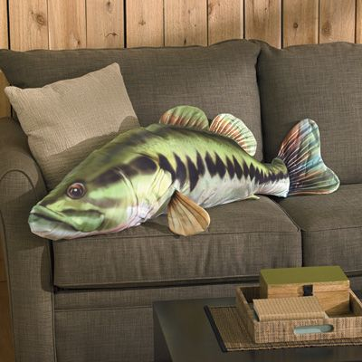 Soft cuddly large mouth bass pillow 4 feet long for Fish body pillow
