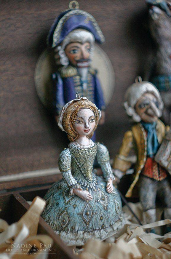 "(collection of ""The Nutcracker"") by Nadine Pau. Christmas ornaments. Papier mache, oil patina varnish. Sold #christmasornaments #nadinepau"