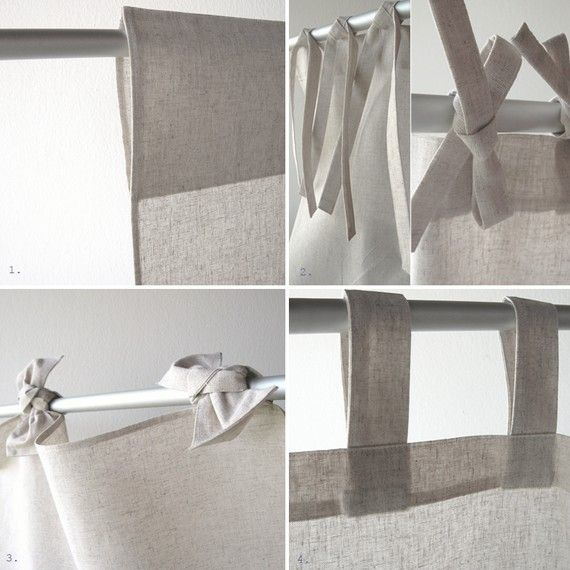 Tea Towel Kitchen Curtains: Linen Towel, Natural Towels With Two Loops, Linen Tea