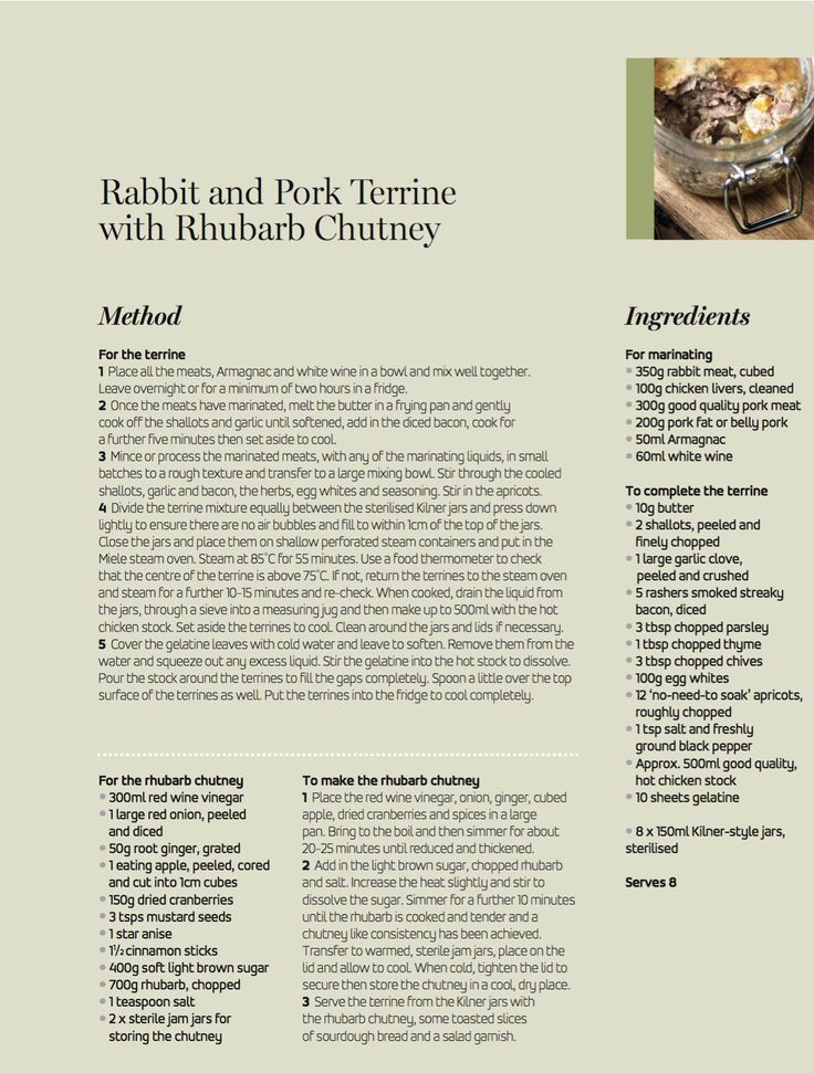 Our Rabbit and Pork Terrine with Rhubarb Chutney is the perfect addition to any casual weekend lunch with friends, steamed to perfection in the Miele steam oven. Did you know that you can also sterilise your Kilner jars before filling in the Miele Steam Oven at 100°C for 15 minutes?