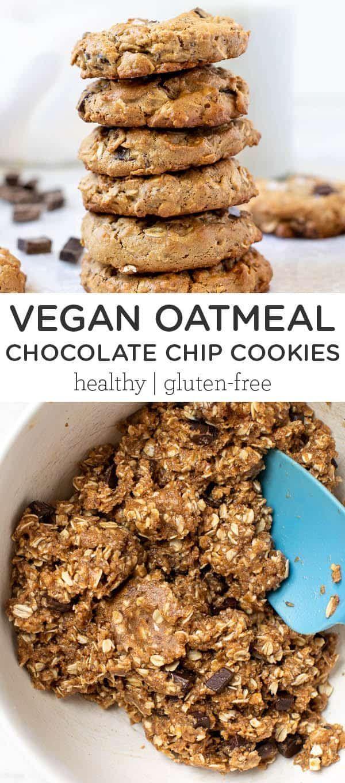 The Best Vegan Oatmeal Chocolate Chip Cookies Gf Recipe In 2020 Vegan Oatmeal Chocolate Chip Cookies Oatmeal Chocolate Chip Cookies Healthy Chocolate Chip Cookies