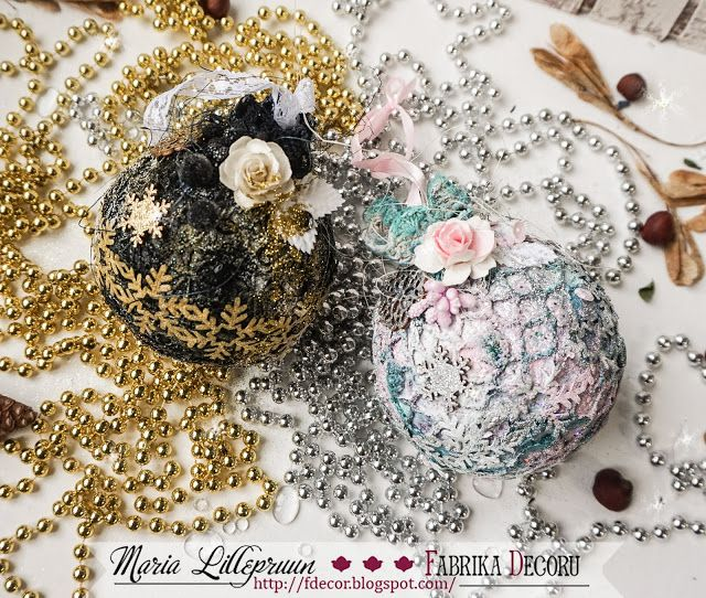 Mixed media baubles by Maria Lillepruun
