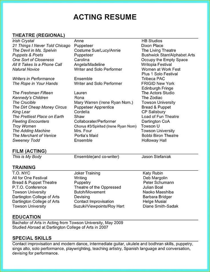 Theatre Resume Template With Images Acting Resume Acting Resume Template Acting Resume Job Resume Template